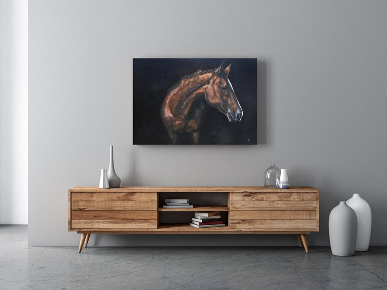 Horse Canvas Print Modern farmhouse art Equestrian Art Horse Painting Canvas print Brown Horse Art Horse art print Canvas Print