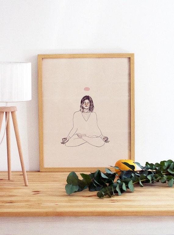 Lotus Pose Yoga Print Yoga Poster Yoga Girl Meditation Etsy