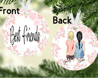 best friends ornamentpersonalized ornamentpersonalize ornamentbesties bffbest friendchristmas friends ornament gift ideasfriends