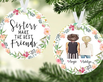 sisters make the best friends ornament personalized sister ornament christmas ornamentgifts for sistersornament gift ideas for family - Best Friend Christmas Ornaments