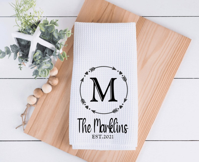 Housewarming Gift Housewarming Gift Wedding Gift,Name Farmhouse home gift Personalized Towels Waffle Weave Microfiber Kitchen Towels