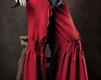 Womens Pants - Mud coloured drop waist Essex pants are a wide leg pant with gathered front knee sections and moc leather waist straps.