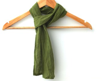 skinny forest green linen scarf