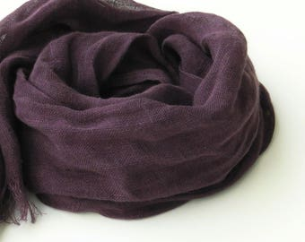purple scarf - pure linen - eggplant - long - women men