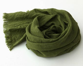 small forest green linen scarf