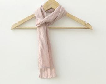 skinny light powder pink linen scarf
