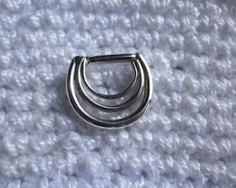 nº43 triple silver septum ring, handmade (piercing)