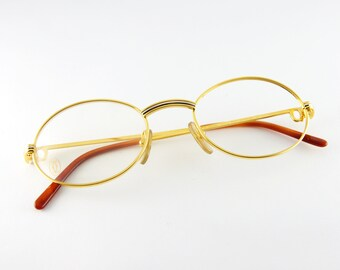 f6c28b1093 CARTIER Vintage Glasses -  90 Frame Luxury Eyeglasses Cartier - Authentic  Vintage Cartier Eyeglasses - NBW gold plated Cartier