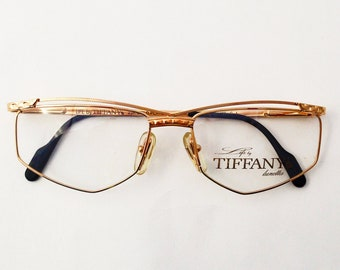 788fb2e5a7d TIFFANY Vintage Glasses -  80 Frame Eyeglasses - Original Vintage Woman  Eyeglasses - New - 23K gold plated - Eyewear Made in Italy