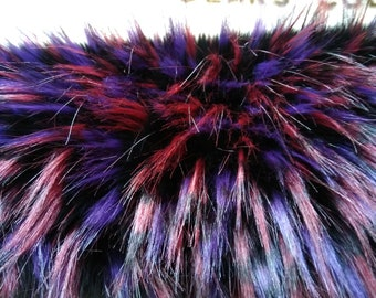 Luxury Soft Very Unusual  Long Black with burgundy and purple guardhairs approx. 40mm - 80mm pile Faux fur '