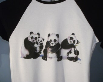 White/ Black Sleeved T-shirt Top with Triple Panda Design