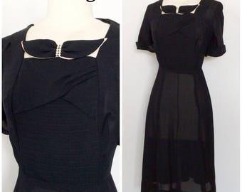 1940s Black rayon dress with rhinestone bow, 1940s dress, WWII dress, WWII pinup dress, Vintage Dress, Dress, 1940s, 40s,  LBD, Art Deco