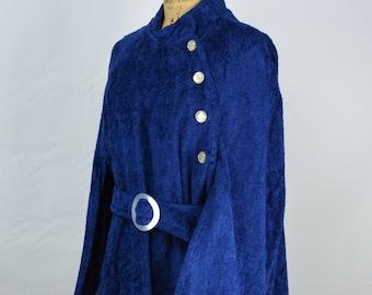 1960s Blue Cape with Fur Hem Trim, Cape, Caplet, 1960s Cape, Blue Cape, Vintage Cape, 1960s Wool Cape, 60's Cape, 60s Capelet, Velvet Cape