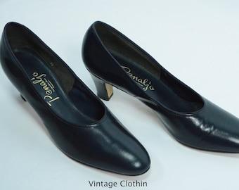 1980's does 1950s Penaljo Navy Blue Pumps, New Old Stock, 1980s Pumps, Blue Shoes, 80s Pumps, 1980s Shoes, Vintage Shoes, Penaljo Shoes