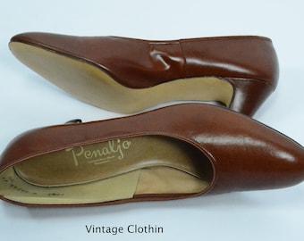 1980's does 1950s Penaljo Tan Brown Pumps, New Old Stock, 1980s Pumps, Brown Shoes, 80s Pumps, 1980s Shoes, Vintage Shoes, Penaljo Shoes