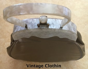 1960s Lucite and Vinyl Purse, Bronze Purse, 1960s Purse, 60s Handbag, 60s Lucite Purse, Vintage Purse, Lucite Handbag, 1960s Lucite Purse