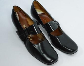 1974 L E Massey Black Mary Janes/Pumps, New Old Stock, L E Massey Shoes, 70s Shoes, 70s L E Massey Shoes, 70s Pumps, Mod Shoes, Black Shoes