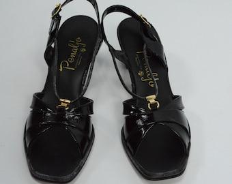 1980's Penaljo Black Patent Peep Toe Sandals, New Old Stock, 1980s Sandals, Black Sandals, 1980s Black Sandals, 1980s Shoes, Penaljo Shoes