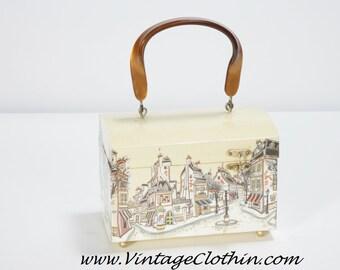 1960s Mod Decoupage Box Purse Street   Shop Scene Lucite Handle f977f4d7fc0aa