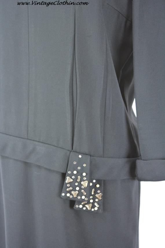 1940s does 1920s Black Dress Rhinestone & Beaded … - image 5