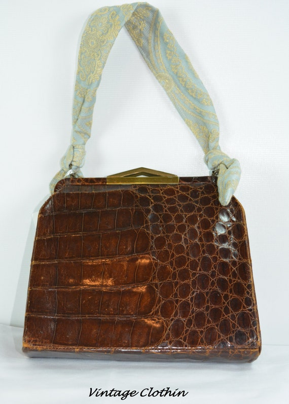 c1940s Snakeskin Leather Purse, Vintage Purse, Vin