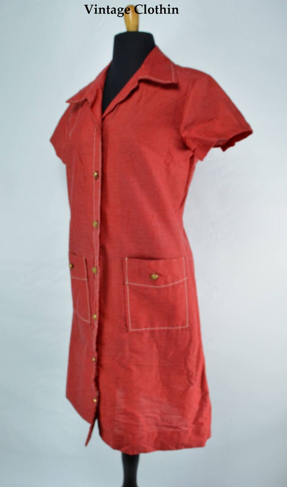 C1970s Montgomery Ward Red Dress, 1970s Dress, 70… - image 1