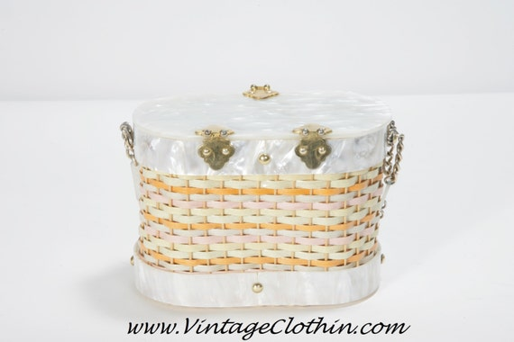 1950s Stylecraft Miami Lucite Basket Wicker Box P… - image 2