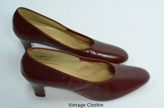 1980's does 1950s Penaljo Wine Color Pumps, New O… - image 1