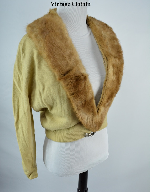 C1950s Cashmere Cardigan with Mink Collar, Vintag… - image 7