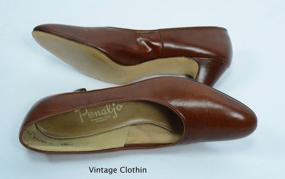 1980's does 1950s Penaljo Tan Brown Pumps, New Ol… - image 7