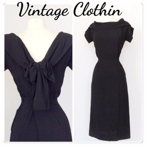 1950s Black Pinup Wiggle Dress Lbd 1950s Lbd Wiggle Dress Etsy