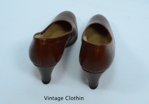 1980's does 1950s Penaljo Tan Brown Pumps, New Ol… - image 6