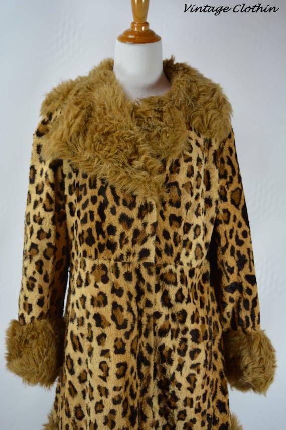 1960's Leopard Faux Fur Coat, Fur Coat, Vintage Fu