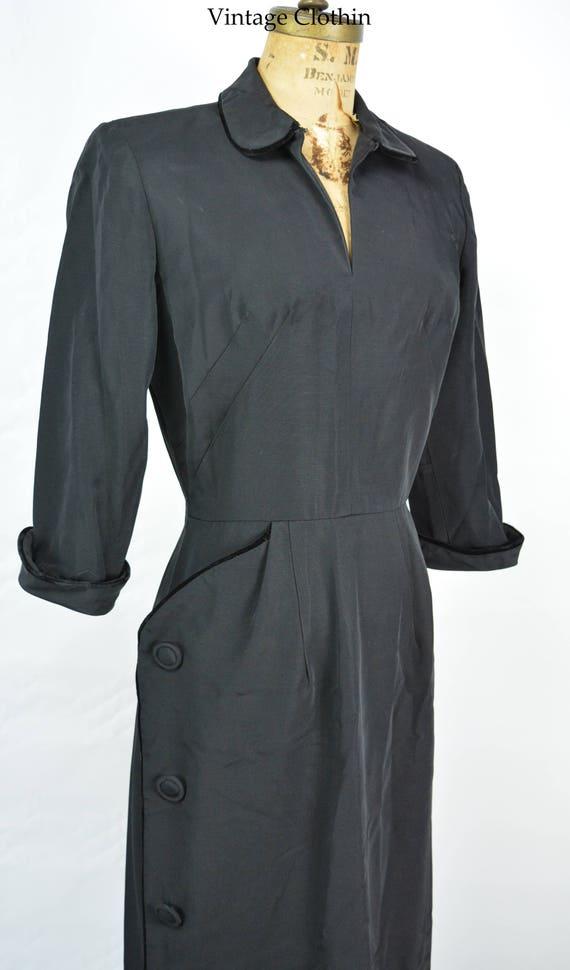 1950s Black Pinup Wiggle Dress, LBD, 1950s LBD, Wi