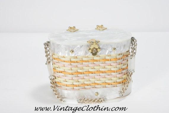 1950s Stylecraft Miami Lucite Basket Wicker Box P… - image 4