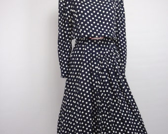 1980s does 1950s Ed Michaels Navy Blue and White Polka Dot Rockabilly Dress, Vintage, 1980s dress, 1950s dress, Pinup Dress, 1950s, 1980s