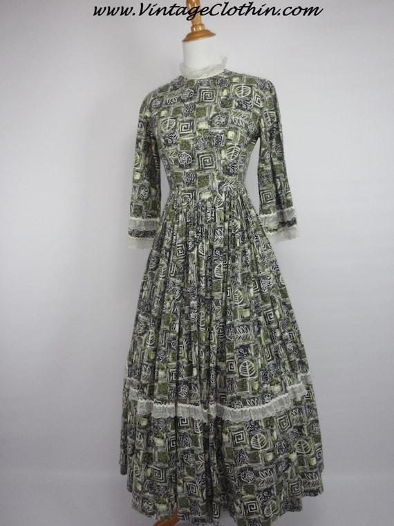 1950s Novelty Print Rockabilly Dress, 1950s Dress,