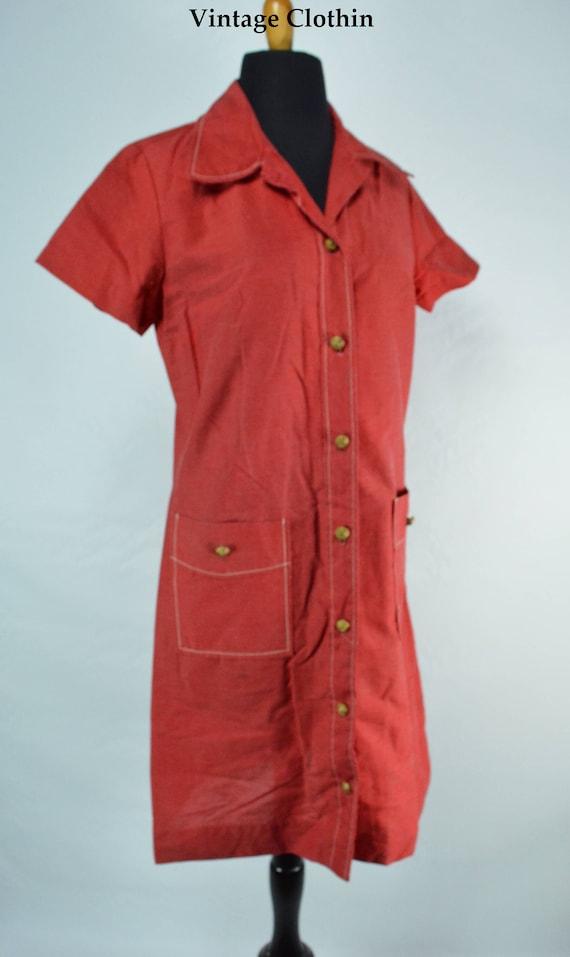 C1970s Montgomery Ward Red Dress, 1970s Dress, 70… - image 3