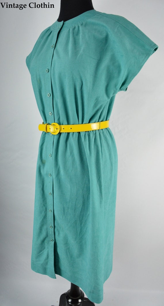 1980s Leslie Fay Teal Dress, 1980s Dress, 80s Dres