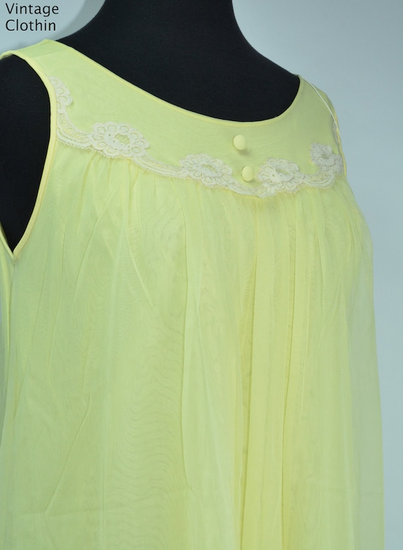 1960s Komar Yellow Baby Doll Nightgown, Nightgown… - image 3