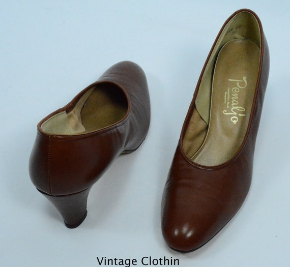 1980's does 1950s Penaljo Tan Brown Pumps, New Ol… - image 5