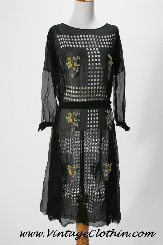 1920's Flapper Dress Black Chiffon Cutout Details