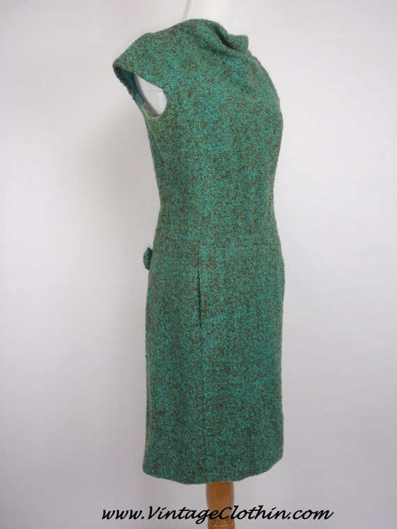 1950s Wool Wiggle Shift Dress, Vintage Dress, Wigg