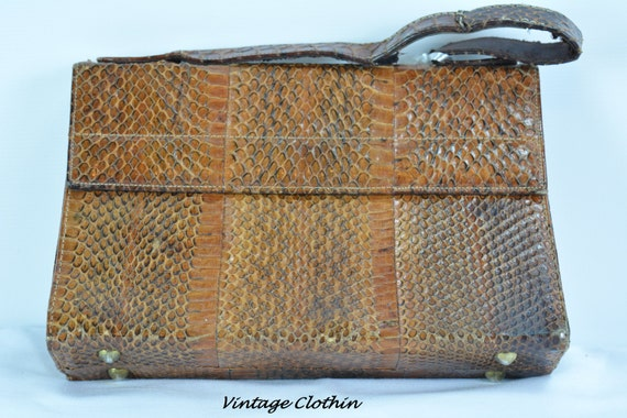 c1940s Snakeskin Purse, Vintage Purse, Vintage Han