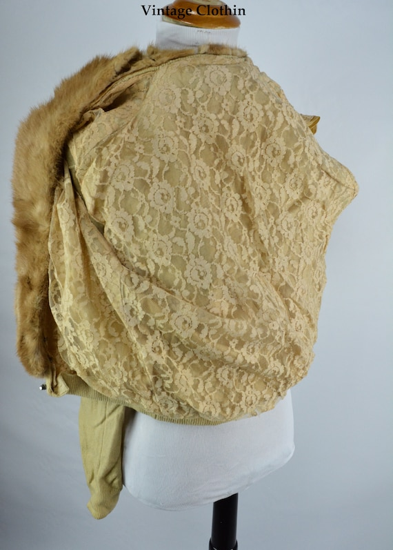 C1950s Cashmere Cardigan with Mink Collar, Vintag… - image 8