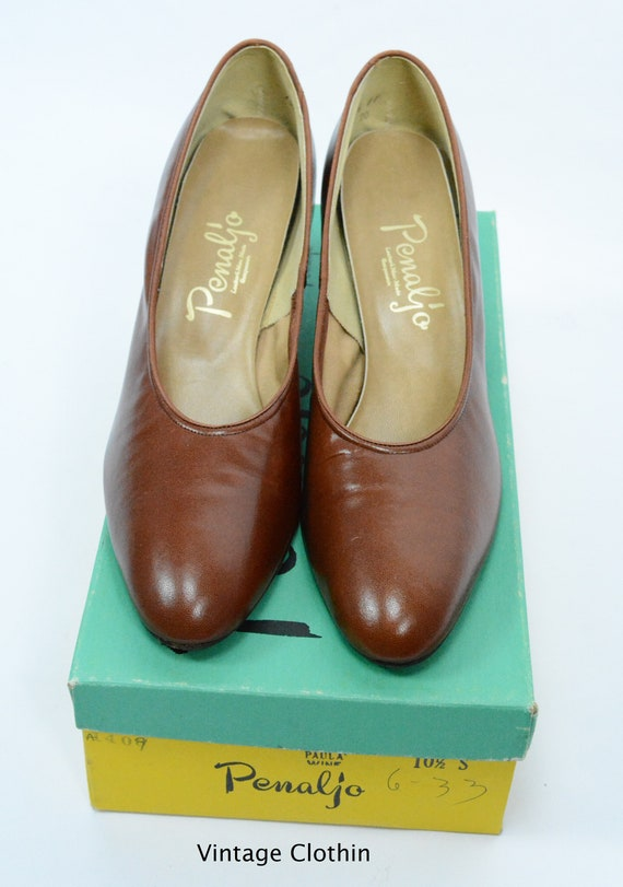 1980's does 1950s Penaljo Tan Brown Pumps, New Ol… - image 10