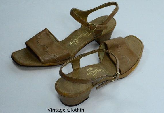 8d628eddc4409 1982 Penaljo Tan Sandals, New Old Stock, 1980s Sandals, Tan Sandals, 1980s  Brown Sandals, 1980s Shoes, Vintage Sandals, Penaljo Shoes