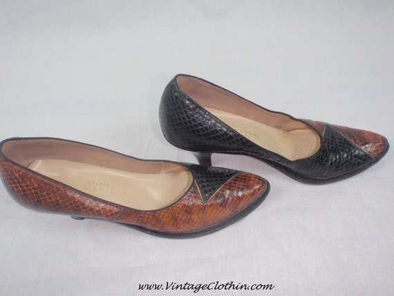 Late 1940s/1950s Two Tone Snakeskin Pumps, Shenani