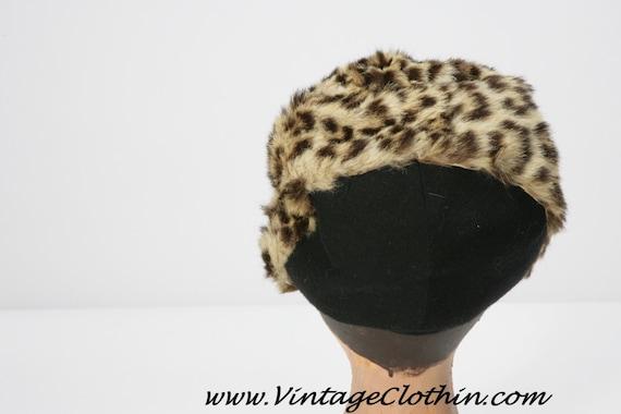 1960s Faux Fur Mod Leopard Print Jockey Hat, Mod … - image 2