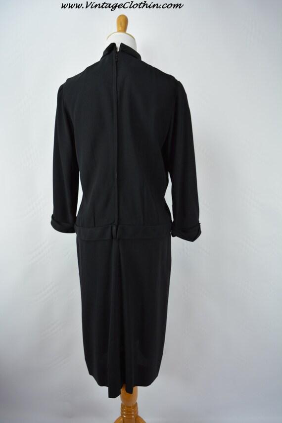 1940s does 1920s Black Dress Rhinestone & Beaded … - image 4